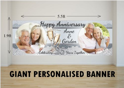Personalised GIANT Large 25th Silver Wedding Anniversary PHOTO Poster Banner N19